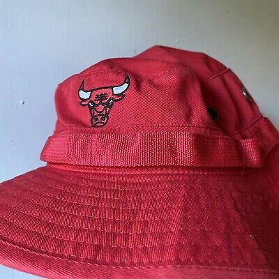 Bucket Safari Hat Chicago Bulls Mitchell & Ness Red Size L XL Chin Strap
