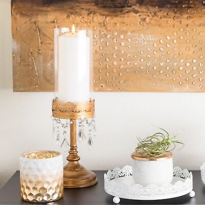 Pillar Candle Holder Centerpiece - Vintage Hurricane Candle Holder Home Wedding Decor Pillar Accent Centerpiece