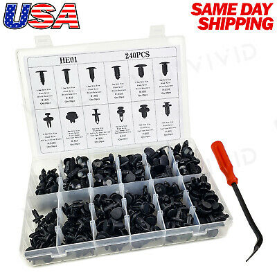 240pc Set Plastic Rivets Fastener Fender Bumper Push Clips with Tool for Acura
