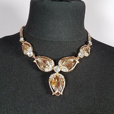 KIRKS FOLLY Rose Bud Necklace Gold Tone Floral Sparkly Tulip Glass Gems Chunky