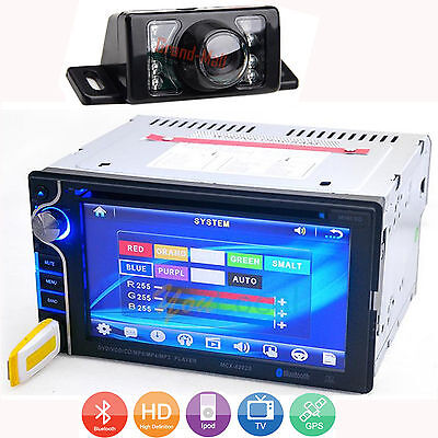 """6.2"""" Double 2Din In Dash Car Stereo DVD Player Touch Screen BT Radio TV +Camera"""