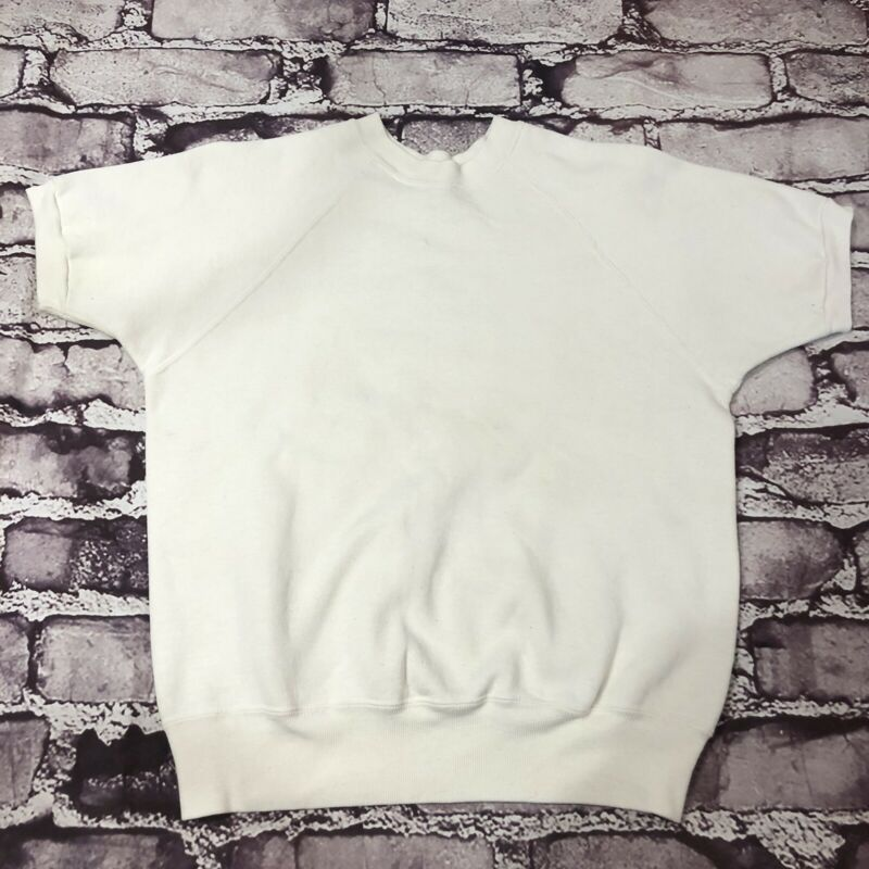 Vintage 1960s Mayo Spruce Sweatshirt Short Sleeve White Size Medium Crewneck