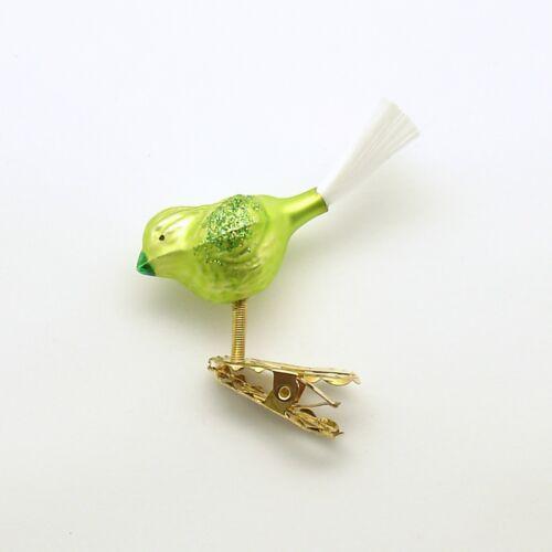 Glass Ornament Clip on Bird Germany