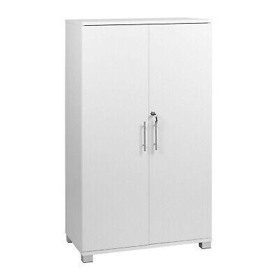 White Storage Cabinet 2 Door Cupboard Locking Bookcase Pantry 48 Tall