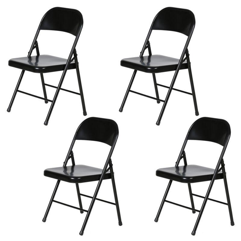 Plastic Development Group Steel Metal Folding Chair, Black (4 Pack) (Open Box)