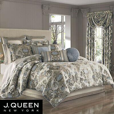 J Queen New York Jordyn Olivia 4 PC COMFORTER SET Queen Taupe Blue $500 New