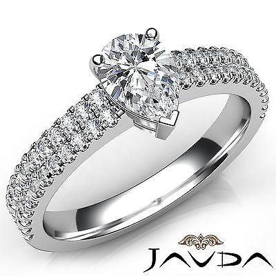 U Cut Prong 2 Row Shank Pear Diamond Engagement Anniversary Ring GIA H VS2 1Ct