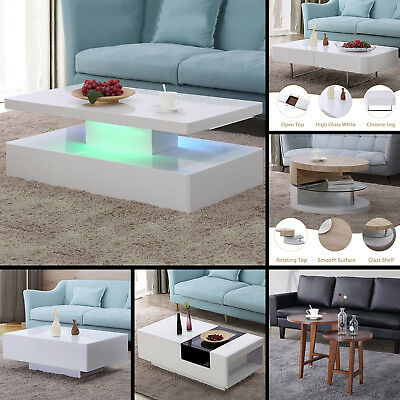 Contemporary Wood & Glass Coffee Table Side / End Table Living Room Furniture Contemporary Glass Side Table