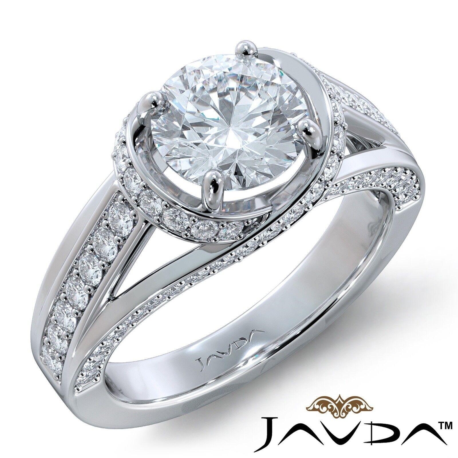 3.4ctw Knot Classic Sidestone Round Diamond Engagement Ring GIA H-VS1 White Gold