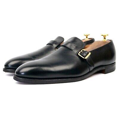 John Lobb 'Darby' Black Leather Monk Strap Loafers UK 9 E
