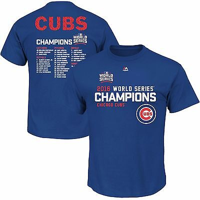 Chicago Cubs Royal 2016 World Series Champions Sweet Lineup Roster T Shirt Adult