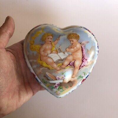 Limoges Romance Porcelain Heart Shaped Box with Cherubs France Jewelry Trinkets