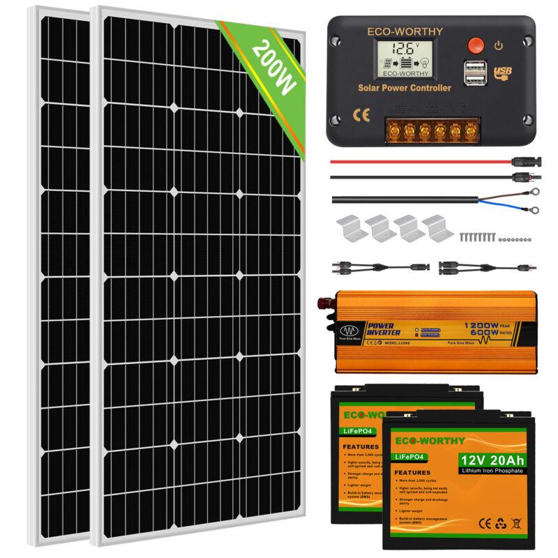 100W 200W Watt Solar Panel Complete Kit LiFePO4 Battery For RV Camping Marine US