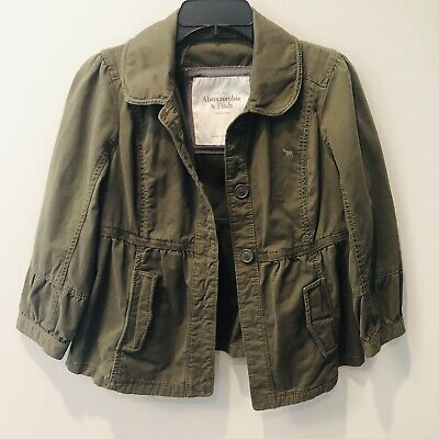 Abercrombie and Fitch Jacket Womens Color Olive Military Size L