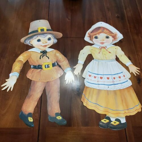 "2 Vtg Pilgrim Thanksgiving Die Cut Out Decorations Fall 25"" Cardboard"