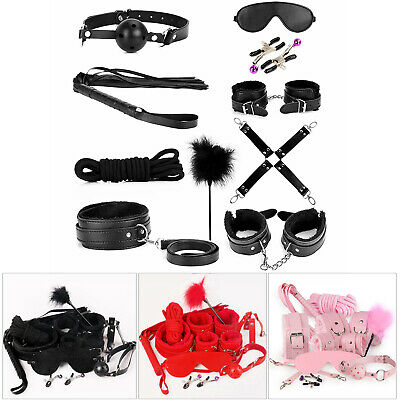 Black Couples Costumes (Bondage Cuffs BDSM Adult Toy for Couples Sex-toys Set 10 in 1)