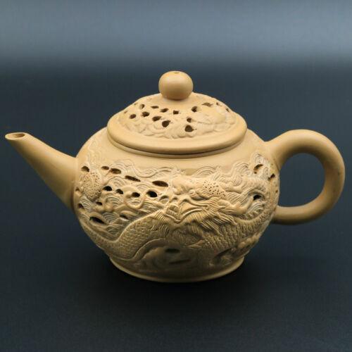 Signed Asian Open Work DRAGON Yixing Zisha? Clay Pottery Single Serving Teapot
