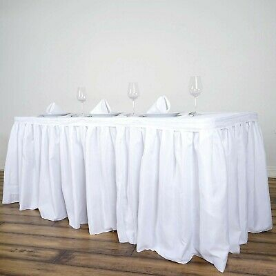 white table skirt for banquets - 17' - for 6' or 8' banquet tables