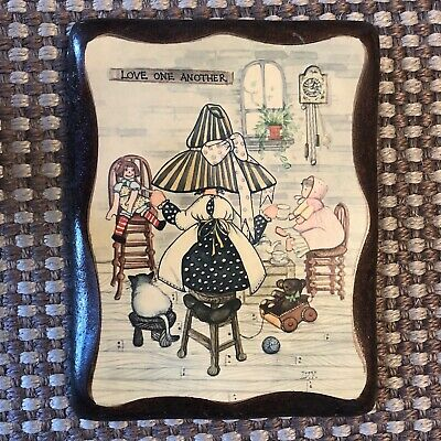 "Holly Hobbie Vintage Lithograph on Wooden Wall Hanging ""Love One Another"""