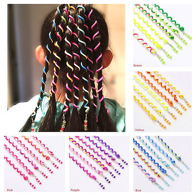 6 Haar Spiralen Bunt Frisurenhilfe Braider Flechten Styling-Zubehör mit Strass