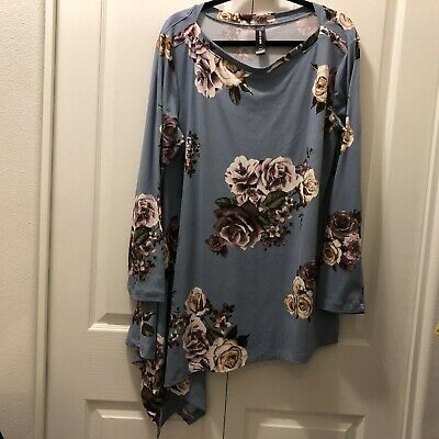 Agnes & Dora Women's XXL Blue Floral Long Sleeve Asymmetrical Top Tunic
