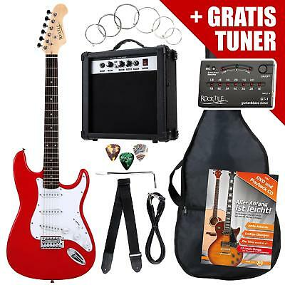 ELECTRIC GUITAR PACK AMPLIFIER TUNER CABLE STRINGS GIGBAG STRAP PLECTRUMS RED