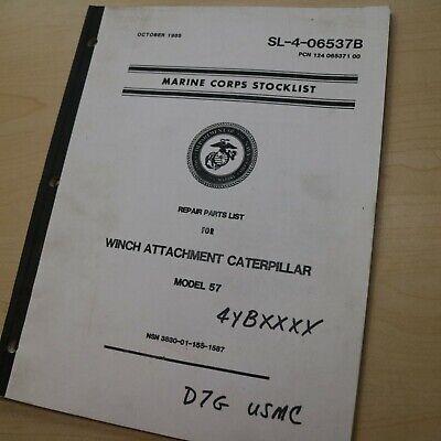 Cat Caterpillar Marine Corps Military D7g Tractor Crawler 57 Winch Parts Manual