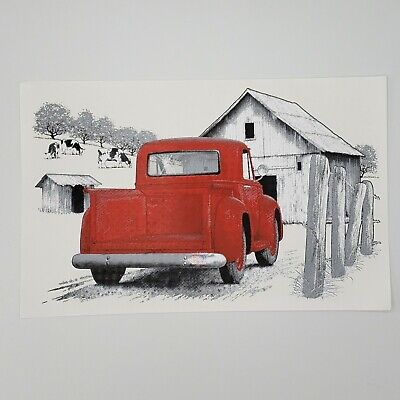 Lot Of 4 Air Waves Old Red Farm Truck Barn Cows T Shirt Iron On Transfers