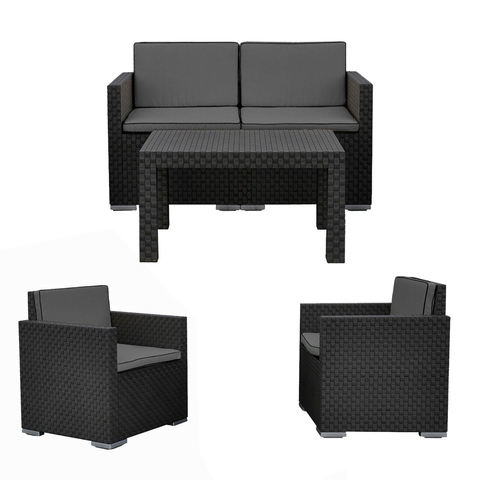 Garden Furniture - 4 Pc Black Lounge Garden Furniture Patio Rattan Design Conversation Set Cushions