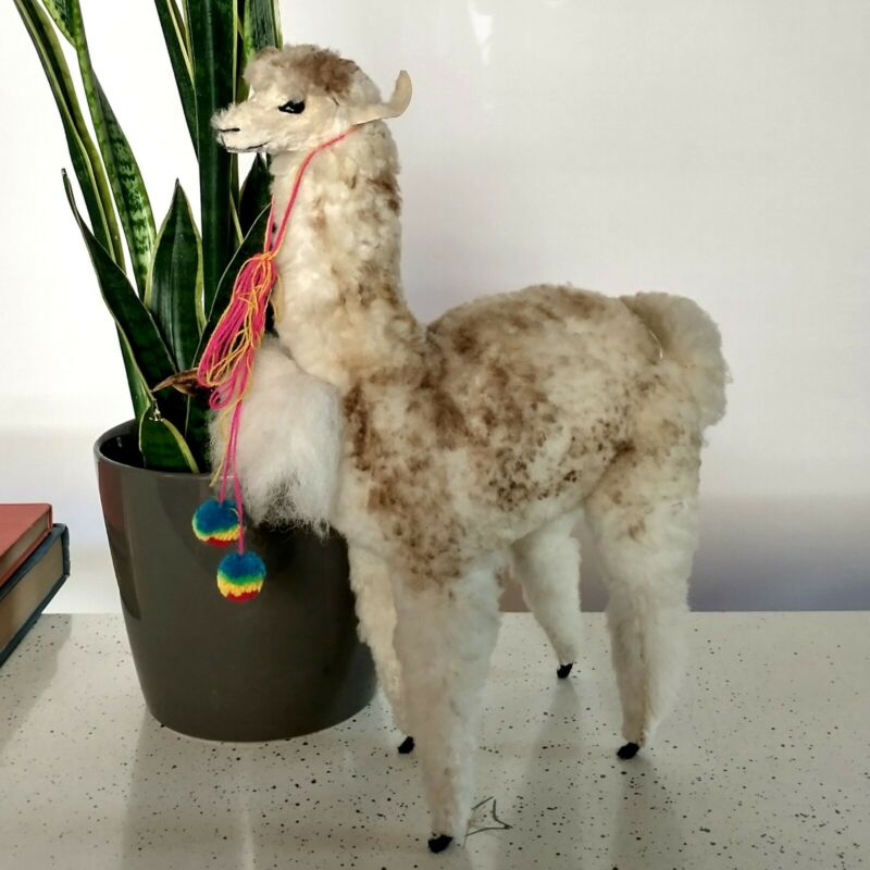 "Stuffed Figure LLama Fur 13"" Tall Alpaca Statue Artisan Made Animal Whimsy Art"