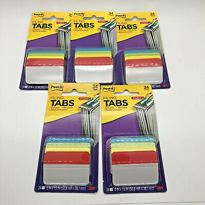 New 3m Post It Filing Tabs Angled Primary Wide Colors Repositionable Lot Of 4