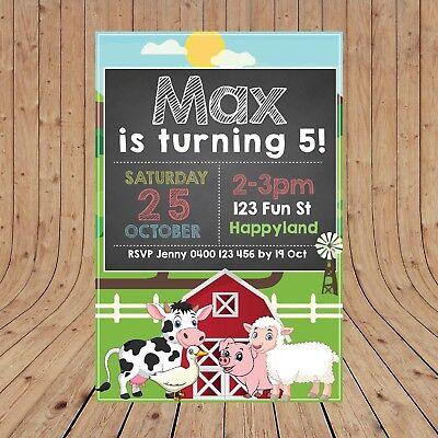 Personalised FARM ANIMALS BARNYARD Party Invitations Invite DIGITAL YOU PRINT - Farm Party Invitations