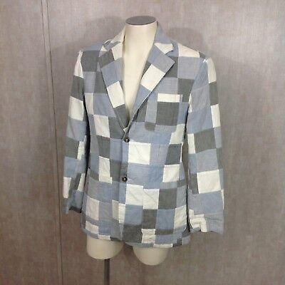IZOD Patchwork Blazer Blue White & Gray Summer Preppy Jacket 100% Cotton S NWT