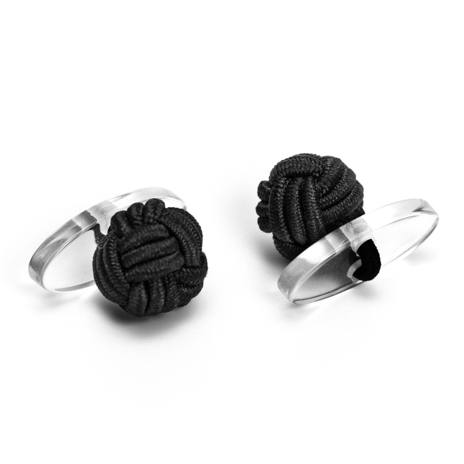 1 Paar Seidenknoten Manschettenknöpfe Cufflinks, schwarz mit Plastik-Steg innen