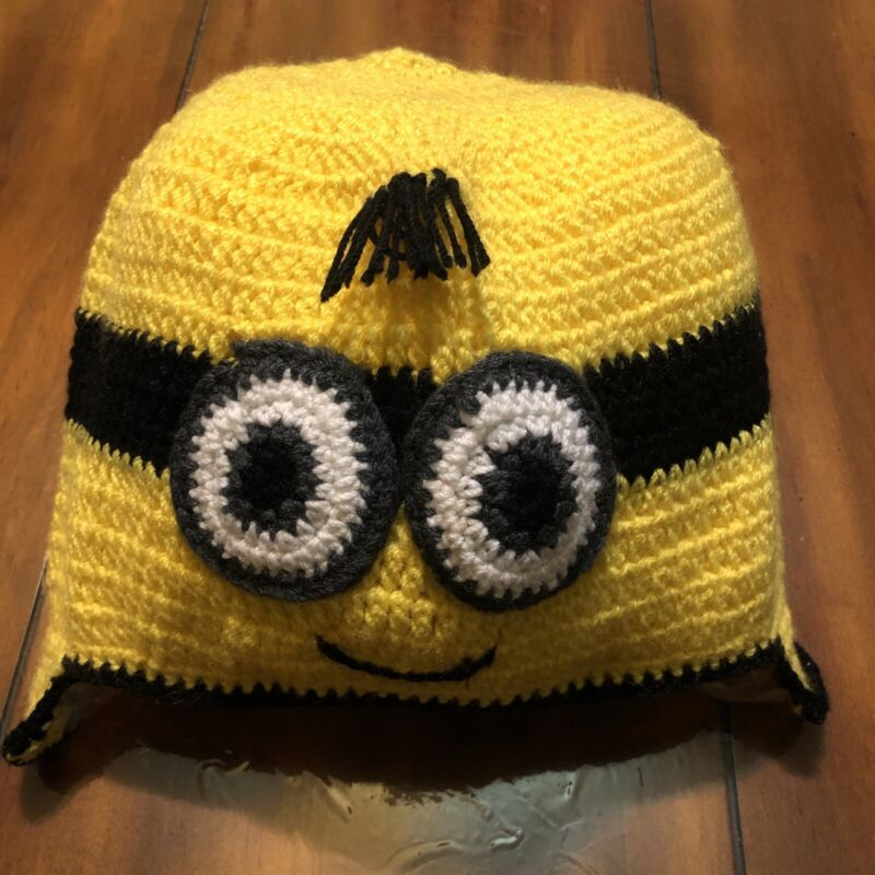 Hand Knitted-homemade Minion Hat One Size Kids