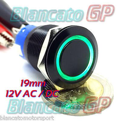 INTERRUTTORE a PULSANTE 19mm ALLUMINIO NERO SPDT LED VERDE 12V