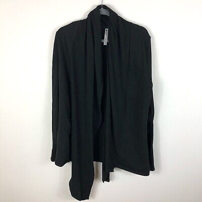 Fabletics Women's Black Open Front Asymmetrical Cardigan Size Extra Large