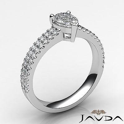 U Cut Prong 2 Row Shank Pear Diamond Engagement Anniversary Ring GIA H VS2 1Ct 1
