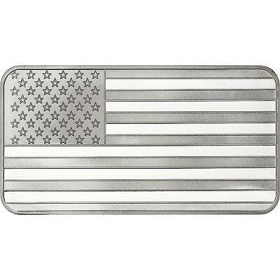 SILVERTOWNE 10 OZ AMERICAN FLAG .999 SILVER BAR