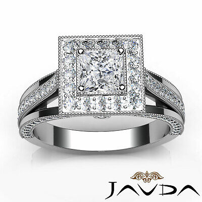 Milgrain Bezel Princess Diamond Engagement Split Shank Ring GIA F VVS1 1.40 Ct 2