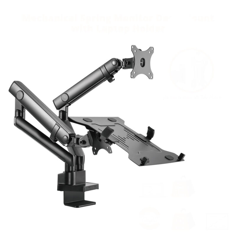 """SIIG Mechanical Spring Monitor Arm Mount w/ Laptop Holder Tray - Fits 17""""-32"""""""
