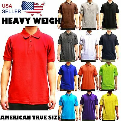 PLAIN POLO SOLID COLORS SHIRT MENS PIQUE COLLARED CASUAL TOP ALL SIZES -