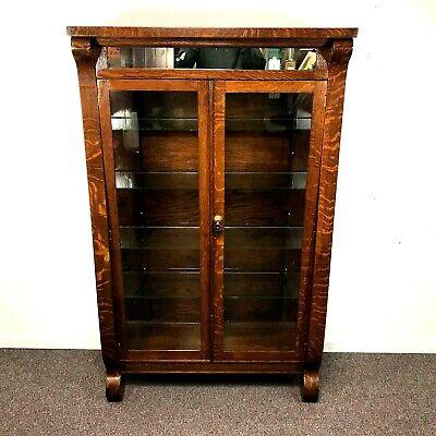 Antique Tiger Oak China Cabinet / Bookcase Double Door  Oak Double Door Cabinet