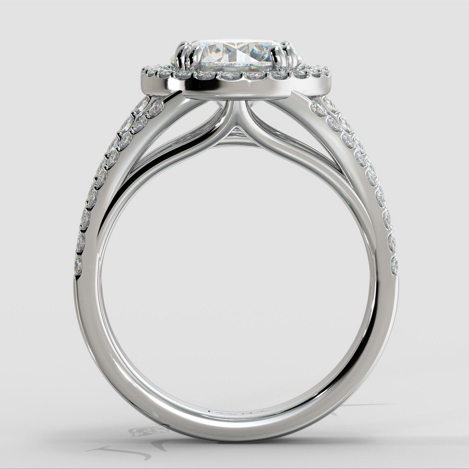 2ct Trio Shank Halo Sidestone Round Diamond Engagement Ring GIA E-VS2 White Gold 3