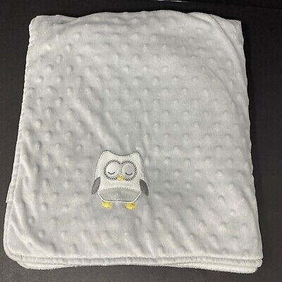 Blankets and Beyond Gray Sleeping Owl Minky Dot White Sherpa Baby Blanket Lovey