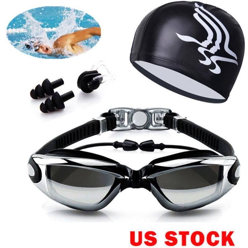 Men Women Swimming Glasses Goggles UV Protection Non-Fogging Swim Cap Nose Clip