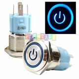 SSFn 16mm Blue On Off LED 12V Latching Push Button Power Switch Waterproof