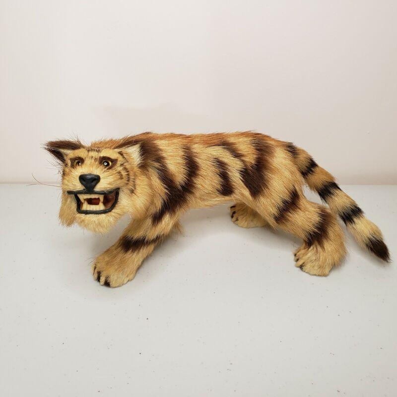 VTG Real Animal Fur Tiger Taxidermy Mini Cat Figure Statue
