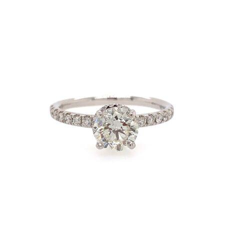 1.01 Carat Round Brilliant Cut J - SI2 GIA Diamond Halo Engagement Ring 18k Gold