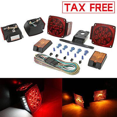 Red/White LED Trailer Light Kit 12V Brake Lights Stop Utility Boat Truck License